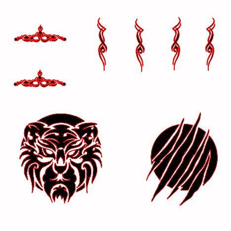 HFTAT002RD HF Tattoo Decals 2 (Red)